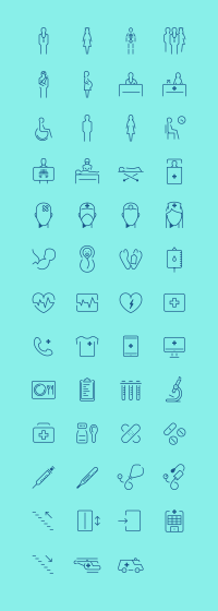 In The Hospital – Icon Set on