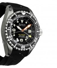 AZIMUTH XTREME-1 SEA-HUM 3TZ WATCH 3 TIME ZONE 500m/1640ft WR BLACK RUBBER - XTREME- 1 - AZIMUTH