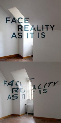 Face Reality As It Is: Anamorphic Typography by Thomas Quinn | Inspiration DE