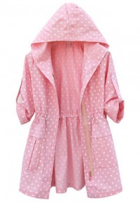 shego shopping mall — [grzxy6601628]Candy Color Dotted 3/4 Sleeve Sun Protection Hooded Jacket Coat