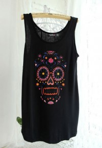 shego shopping mall — [grzxy6601626]Skull Head Floral Print Loose Fit Muscle T Shirt Tank Top