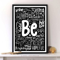 Be Words Typography On Motivational Quotes Print Poster For Home Decor | Inspiration DE