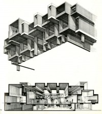 Drawing ARCHITECTURE | Orange County Government Center by Paul Rudolph...