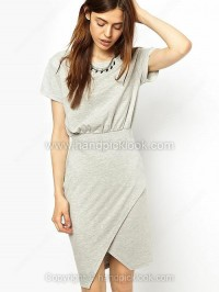 Grey Round Neck Short Sleeve Asymmetrical Cotton Dress - HandpickLook.com
