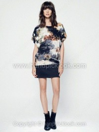 Black Round Neck Short Sleeve Ink Painting Print Dress - HandpickLook.com