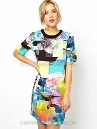 Multicolor Round Neck Short Sleeve Flowers Print Dress - HandpickLook.com