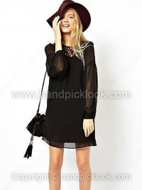 Black Round Neck Long Sleeve Lace Dress - HandpickLook.com