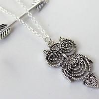 shego shopping mall — [grzxy61000033]Gold / Silver Tone Owl Arrow Pendant Two-layer Necklace