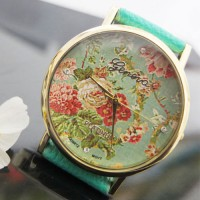 shego shopping mall — [grzxy61500039]Women Blooming Rose Print Rhinestone Quartz Watch Wristwatch