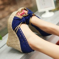 shego shopping mall — [grzxy61900382]High Braided Wedge Heel Crochet Lace Peep Toe Sandal