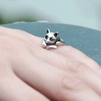 shego shopping mall — [grzxy61000039]Gold / Silver Tone Lovely Cat Open Ring