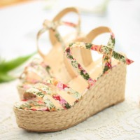 shego shopping mall — [grzxy61900391]Boho Floral Print Braided Wedge Heel Platform Sandal
