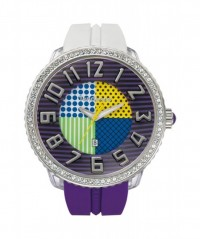 TENDENCE WATCH 'CRAZY' PURPLE & WHITE 3 HAND 100m WR SWAROVSKI CRYSTALS T0430065 - CRAZY - TENDENCE