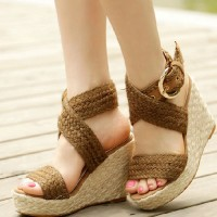 shego shopping mall — [grzxy61900393]Boho Braided Crisscross Strap High Wedge Heel Platform Sandal