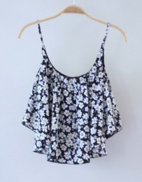 Blouse: flowers, black, singlet, summer, gorgeous, pretty, cute, top, laureen, shirt, clothes, daisies, flower, daisy, tank top, tumblr, tumblr shirt, crop tops, daisys, blue shirt, outfits, outfit, love, summer outfits - Wheretoget