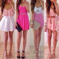 Dress: skirt, shirt, pink, white, blouse, shoes, belt, jacket, pink dress, pink skirt, girly, girly dress, girl, gold, jewllery, pretty, cute, tank top, crop tops, magenta, crochet, salmon, bows, bow crop top, floral, cardigan, knitted cardigan, lace dress, black high heels, high heels, pink high heels, tan heels, beige shoes, justin bieber, summer, hot pink, hot, sexy, sexy party dresses, pink shirt crop, light pink bustier, white & pink dress, mini, white dress, summer dress - Wheretoget