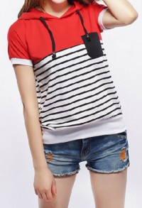 shego shopping mall — [grzxy6601703]Oversized Stripe Short Sleeve Drawstring Hooded T Shirt
