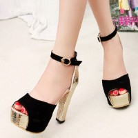 shego shopping mall — [grzxy61900396]Gold Tone Block High Heel Peep Toe Platform Sandal