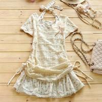 shego shopping mall — [grzxy6601668]Short Sleeve Lace Top Bowknot Print Halter Dress
