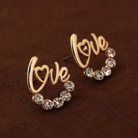shego shopping mall — [grzxy6300031]Gold Color Romantic Rhinestone Love Stud Earring