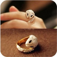 shego shopping mall — [grzxy61000043]Street Chic White Snake Rhinestone Gold Tone Ring