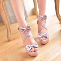 shego shopping mall — [grzxy61900401]Sweet Bowknot Crisscross Strap Chunky Heel Platform Sandal
