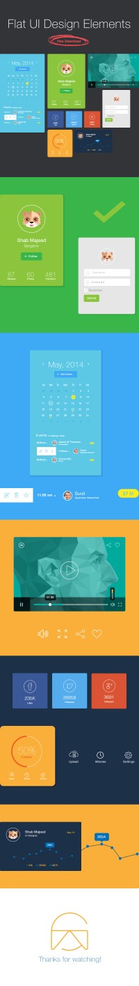 Flat UI Design Elements – Free Download | Inspiration DE