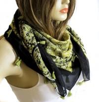 Scarf: Green Scarf Spring Scarf Cotton Scarf Cowl by selenayselenay - Socialbliss