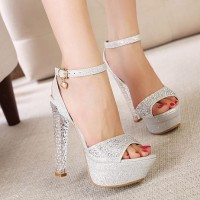 [gh10009]Glittering Rhinestone Clear High Block Heel Platform Sandal on Luulla