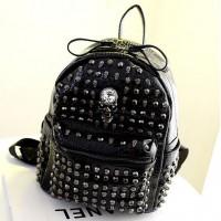 [gh10050] Punk Style Black/White Metallic Skull Rivets School Bag Backpack / InvisiTree