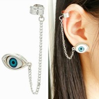[gh10036] Silver/Gold Tone Chain Eye Clip On Stud Earring / InvisiTree