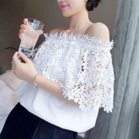 [gh10040] White Off the Shoulder Floral Crochet Lace Top / InvisiTree
