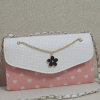 [gh10047] Girly Love Heart Print Bowknot/Flower Chain Bag / InvisiTree