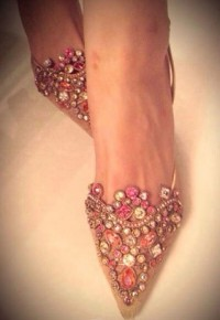 [gh10029]Multicolor Rhinestone Point Toe High Stiletto Heel Slingback Sandal / InvisiTree