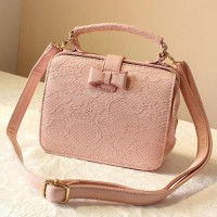 [gh10044] Candy Color Bowknot Floral Lace Shoulder Bag Handbag / InvisiTree