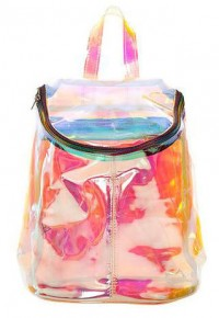 [gh10041] Chic Colorized Transparent Zippered Bucket Bag Backpack Handbag / InvisiTree