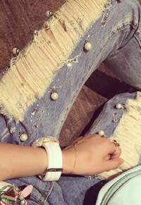 InvisiTree — [gh10092]Beaded Blue Heavy Destroyed Denim Jeans Cropped Pants