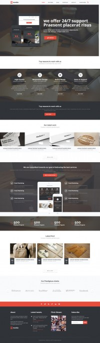 Web Design / red, one page, wordpress, website, portfolio