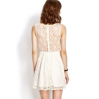 InvisiTree — [gh10016]Embroidery Floral Lace Sheer Back White Sleeveless Dress