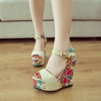 Peep Toe Floral Print High Wedge Heel Platform Sandal from amazingmall on Storenvy