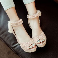 Beaded Ankle Strap Lace Bowknot High Wedge Heel Sandal from amazingmall on Storenvy