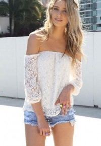 InvisiTree — [gh10141]White Floral Crochet Lace Strapless Backless Blouse Top