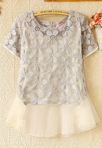 InvisiTree — [gh10145]Floral Embroidery Short Sleeve Blouse Top Tank Dress
