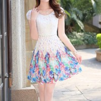 InvisiTree — [gh10130]Multicolor Print Crochet Lace Cap Sleeve Pleated Dress