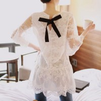 InvisiTree — [gh10138]Sheer 3/4 Sleeve White Floral Crochet Lace Bowtie Dropwaisted Dress