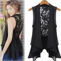 InvisiTree — [gh10128]Irregular Black Lace Open Front Sleeveless Jacket Vest