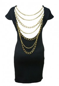 InvisiTree — [gh10078]Gold Tone Metal Chain Black Open Back Wiggle Dress