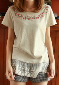 InvisiTree — [gh10121]Floral Print Lacy Loose Short Sleeve T Shirt
