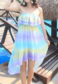 InvisiTree — [gh10102]Vibrant Contrast Color Stretchy Falbala Dip Hem Strapless Dress