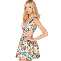 InvisiTree — [gh10074]Blooming Floral Print Low-cut V Neck Cutout Sleeveless Dress